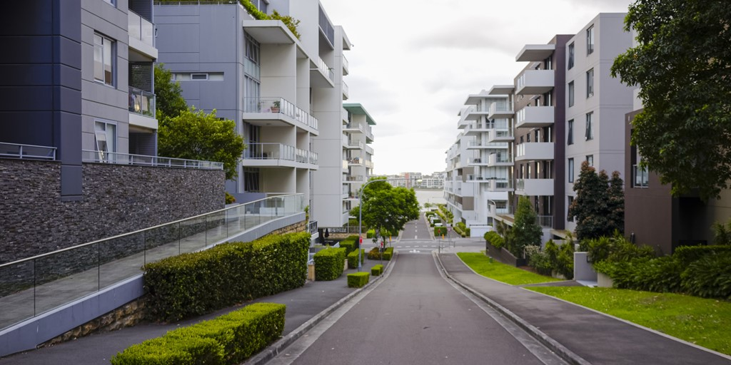 Apartment buildings lining a Sydney street