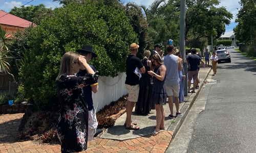 Buyers lining up at a Brisbane house